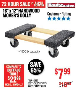 View 18 In. x 12 In. 1000 lbs. Capacity Hardwood Dolly