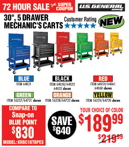 View 30 in. 5 Drawer Blue Mechanic's Cart