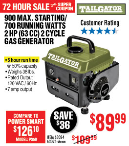 View 900 Max Starting/700 Running Watts, 2 HP  (63cc) 2 Cycle Gas Generator EPA/CARB