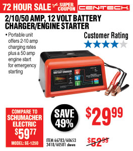 View 10/2/50 Amp 12V Manual Charger With Engine Start