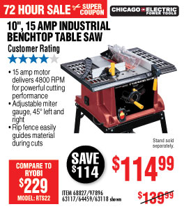 View 10 in., 15 Amp Benchtop Table Saw