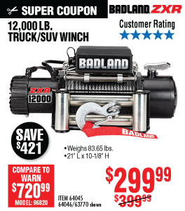 View 12000 lbs. Off-Road Vehicle Electric Winch with Automatic Load-Holding Brake