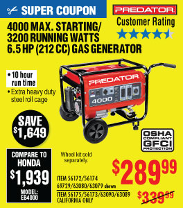 View 4000 Max Starting/3200 Running Watts, 6.5 HP  (212cc) Generator EPA III with GFCI Outlet Protection