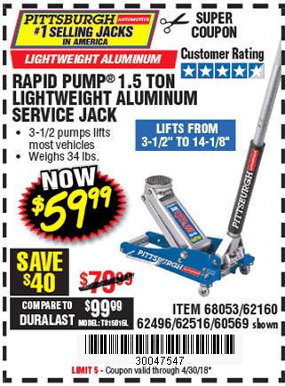 1.5 Ton Aluminum Racing Service Jack  with Rapid Pump®