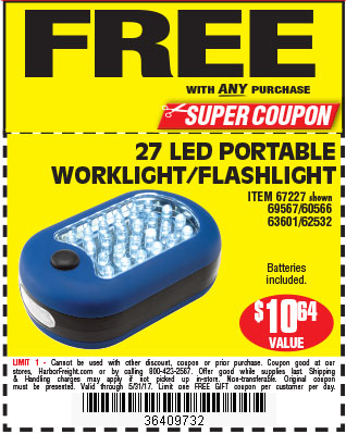 Free 27 LED Portable Worklight/Flashlight