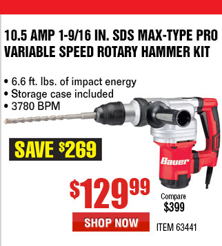 harbor freight hammer drill. 10.5 amp 1-9/16 in. sds max-type pro variable speed harbor freight hammer drill