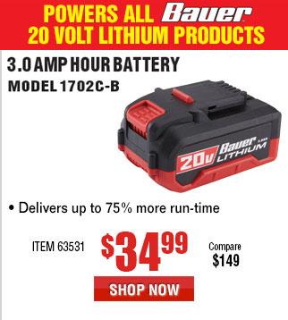 20V HyperMax™ Lithium 3.0 Ah High Capacity Battery