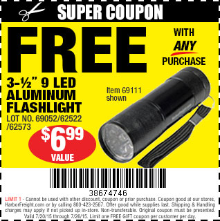 Free flashlight with any purchase