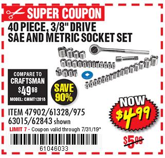 40 Pc 3/8 in., 1/4 in. Drive SAE & Metric Socket Set