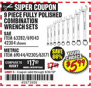 9 Pc Fully Polished Combination Wrench Sets