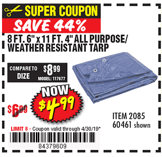 8 ft. 4 in. x 11 ft. 6 in. Blue All Purpose/Weather Resistant Tarp