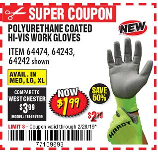 Touchscreen Hi-Vis Polyurethane Coated Work Gloves