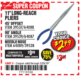 11 in. Long Reach 45° Offset Needle Nose Pliers