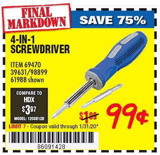 4-in-1 Screwdriver with TPR Handle