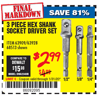 Hex Shank Socket Driver Set, 3 Pc.