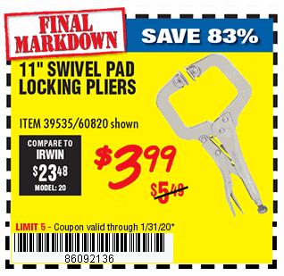 11 In. Swivel Pad Locking Pliers