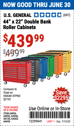 44 in. x 22 In. Double Bank Roller Cabinets