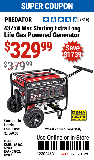 4375 Watt Max Starting Extra Long Life Gas Powered Generator