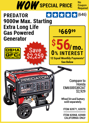 9000 Watt Max Starting Extra Long Life Gas Powered Generator