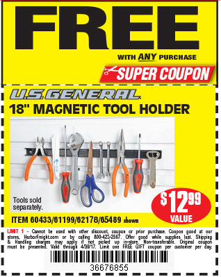Free 18 in. Magnetic Tool Holder