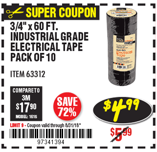 3/4 In x 60 Ft Industrial Grade Electrical Tape 10 Pk.