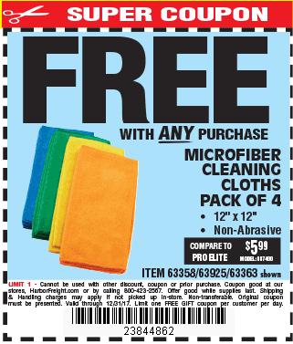Microfiber Cleaning Cloth 12x12 4 Pk.