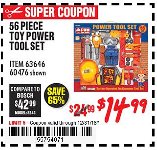 Toy Power Tool Set 56 Pc