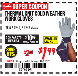 22 Thermal Knit Cold Weather Work Gloves