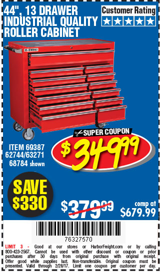 44 in. 13 Drawer Glossy Red Industrial Roller Cabinet