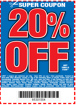 Digital savings and coupons from harbor freight 20 off any single item fandeluxe Images