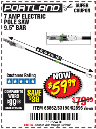 Digital savings and coupons from harbor freight 95 in 7 amp electric pole saw fandeluxe Images