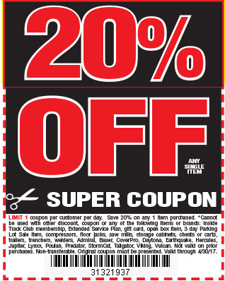 20 % off any single item