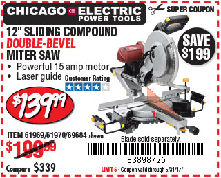 in. Double-Bevel Sliding Compound Miter Saw With Laser Guide System