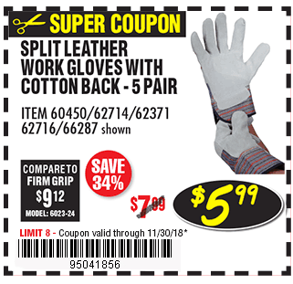 Split Leather Work Gloves with Cotton Back 5 Pr.