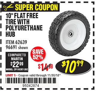 10 in. Worry Free Tire with Polyurethane Hub