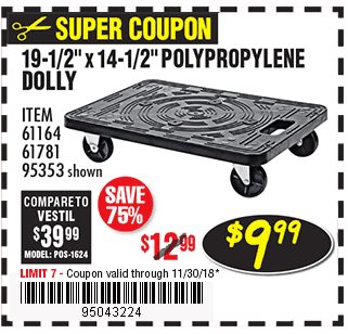 19-1/2 In x 14-1/2 In 200 lbs. Capacity Polypropylene Dolly