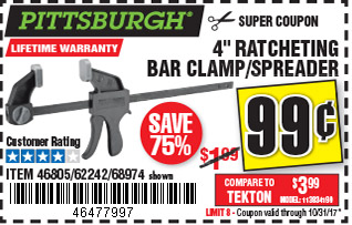 4 in. Ratcheting Bar Clamp/Spreade
