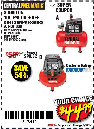 3 gal. 1/3 HP 100 PSI Oilless Air Compressor