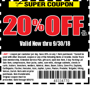 Digital savings and coupons from harbor freight 20 off 1 item fandeluxe Choice Image