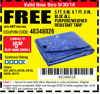 Digital savings and coupons from harbor freight 5 ft 6 in x 7 ft 6 in blue all purpose fandeluxe Choice Image