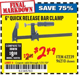 6 in. Quick Release Bar Clamp