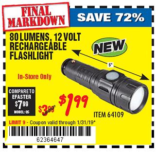 80 Lumen 12V Rechargeable Mini Flashlight