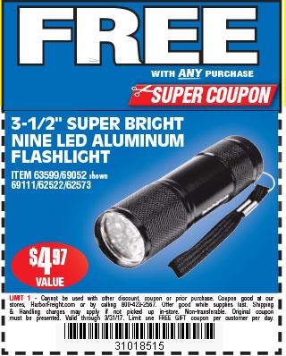 Free 3-1/2 in. 9 LED Mini Flashlight