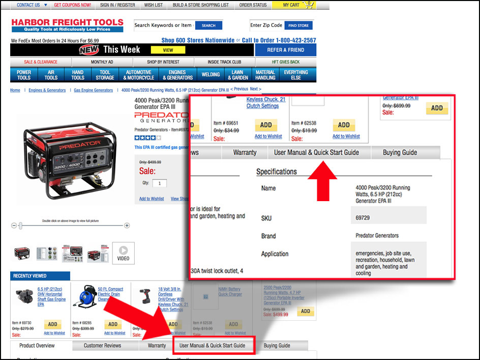 User Manual on Product Detail Page