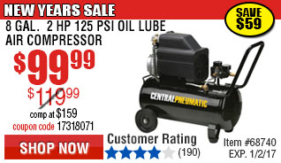 2 HP 8 Gallon 125 PSI Air Compressor