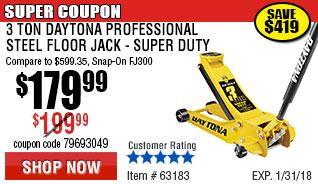 3 Ton Daytona Professional Steel Floor Jack - Super Duty