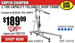 2 Ton Capacity Foldable Shop Crane