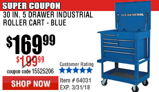 30 in. 5 Drawer Glossy Blue Tool Cart