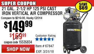 21 gal. 2.5 HP 125 PSI Cast Iron Vertical Air Compressor