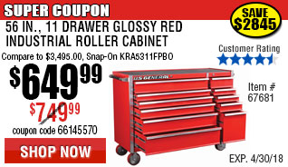 56 in. 11 Drawer Glossy Red Roller Cabinet